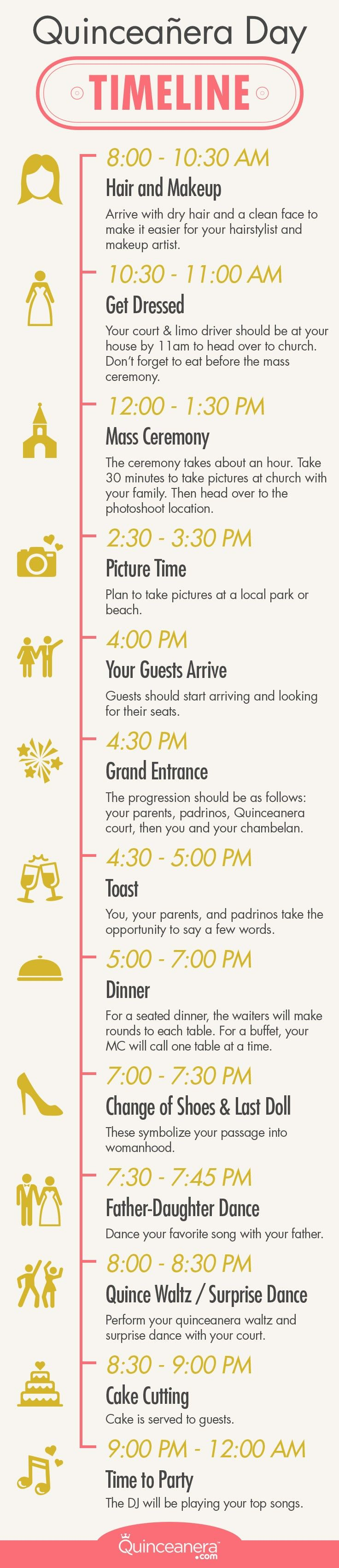 The complete guide to your quinceanera day guideline | Quinceanera Day Timeline | Quinceanera Planning