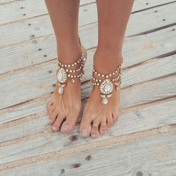 Beach Wedding Barefoot Sandals,Bridal Foot Jewelry,Boho Slave… ($89) ❤ liked on Polyvore featuring