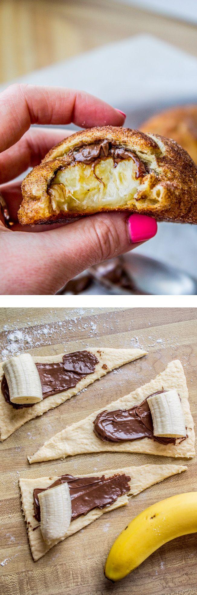 Nutella and Banana Stuffed Crescent Rolls