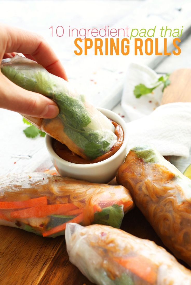 Pad Thai Spring Rolls   Minimalist Baker Recipes. 10 ingredients seems excessive, but Im sure a s