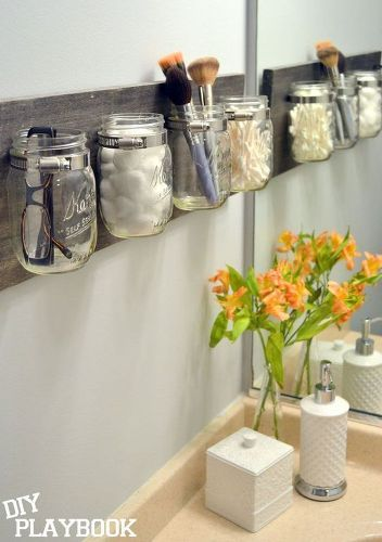 s 13 ways to completely declutter your bathroom in an hour, bathroom ideas, organizing, Make a mason j