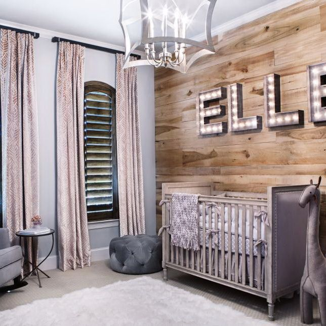 Baby will love this charmingly rustic nursery for years to come. Instead of wallpaper, the wall behind