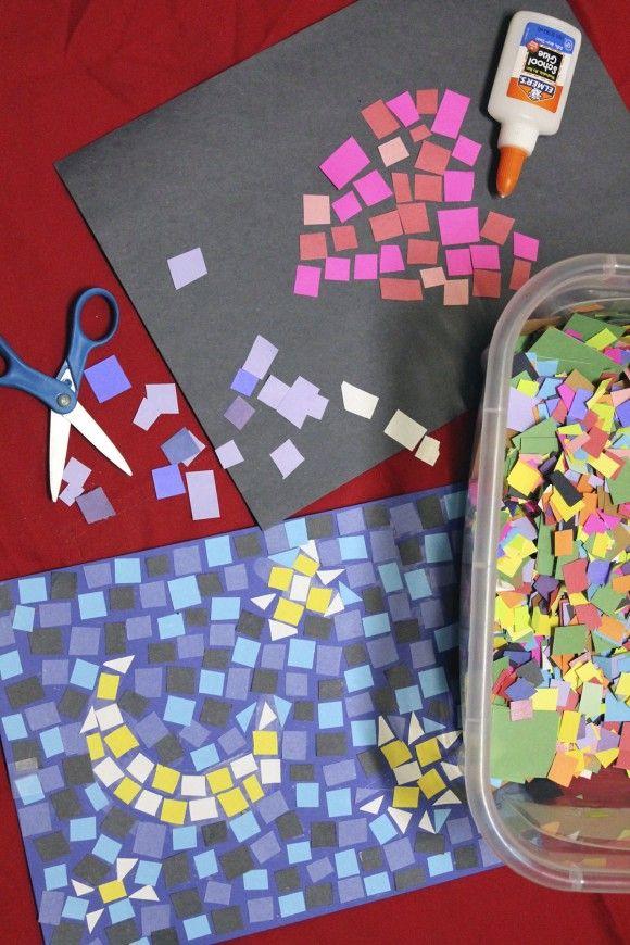 Paper mosaics Kids Craft DIY Construction Paper