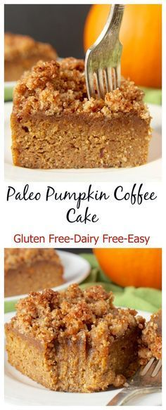 Paleo Pumpkin Coffee Cake- easy, healthy, and delicious! Gluten free, grain free, and dairy free.