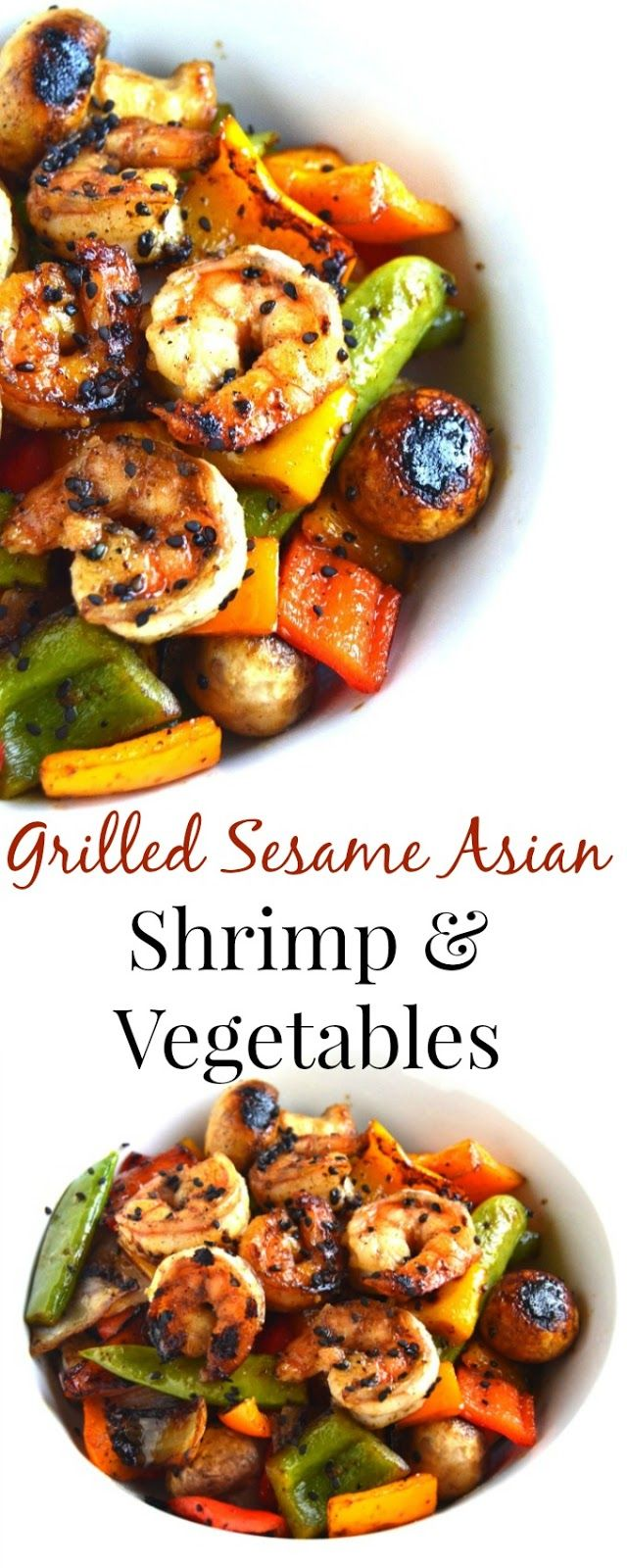 Grilled Sesame Asian Shrimp and Vegetables takes 20 minutes to make and is marinated in a delicious ta