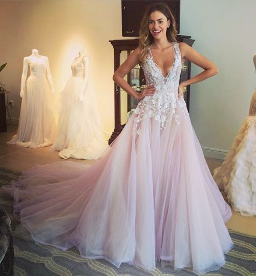 V-neck lace prom dresses,A-line tulle long prom dress, 2016 evening formal gowns ,wedding dresses