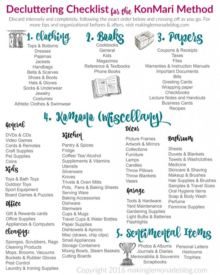 Excited to use this free printable decluttering checklist for the KonMari Method of discarding and org