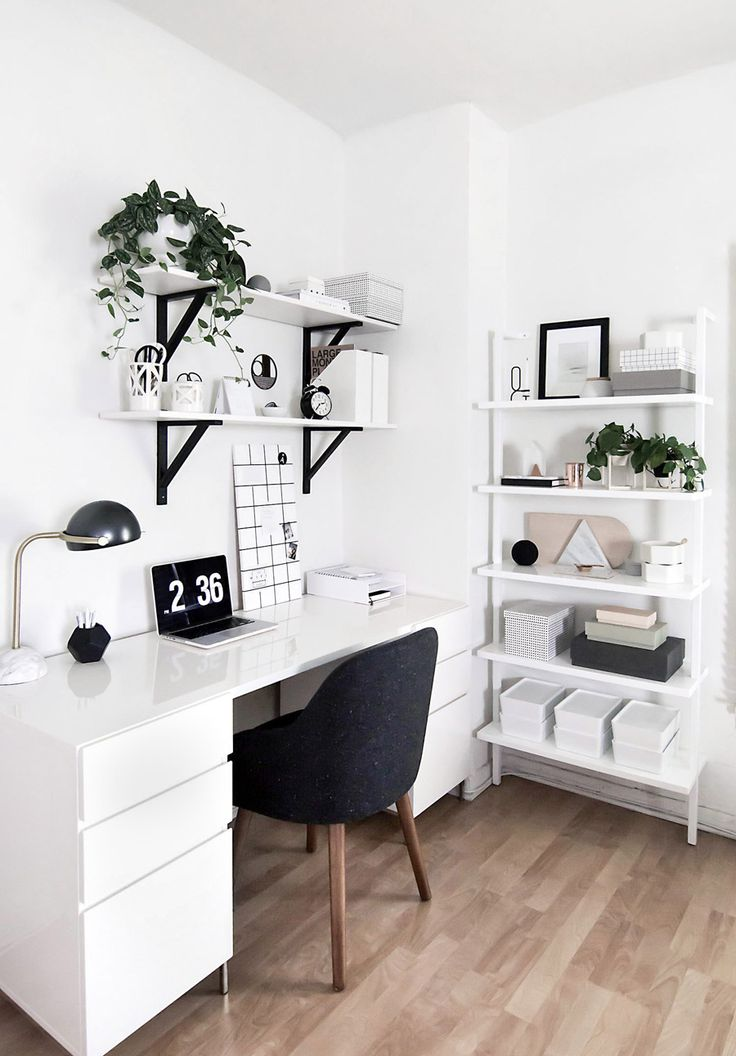 Amy Kims Black and White Home Office packs a ton of style into a small space. See the full tour o