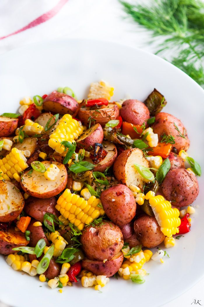 Southwest Roasted Potato Salad recipe – One pan roasted red potato salad with bell pepper, corn, fresh