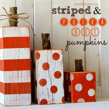 Super cute and easy striped and polka dot pumpkins that are perfect for all of…