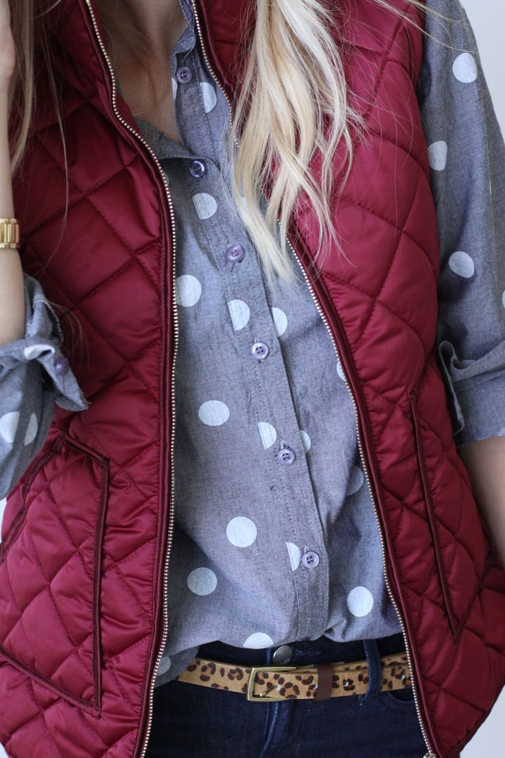 LOVE the polka dots and burgundy puffer vest.
