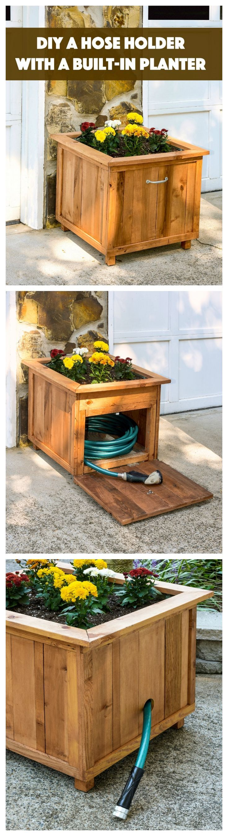 Build a unique hose holder using recycled pallet wood! This holder has a special feature; you can plan