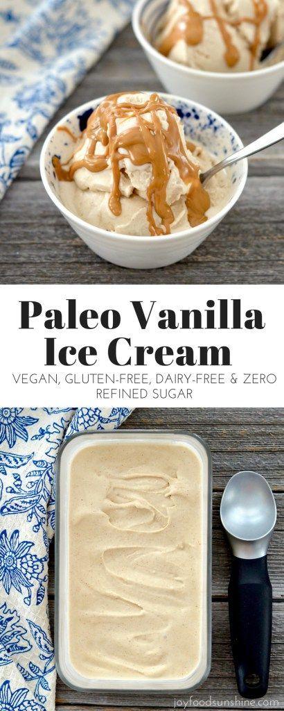 Vegan & Paleo Vanilla Ice Cream Recipe! Made with only 5 ingredients! Gluten, dairy & refined