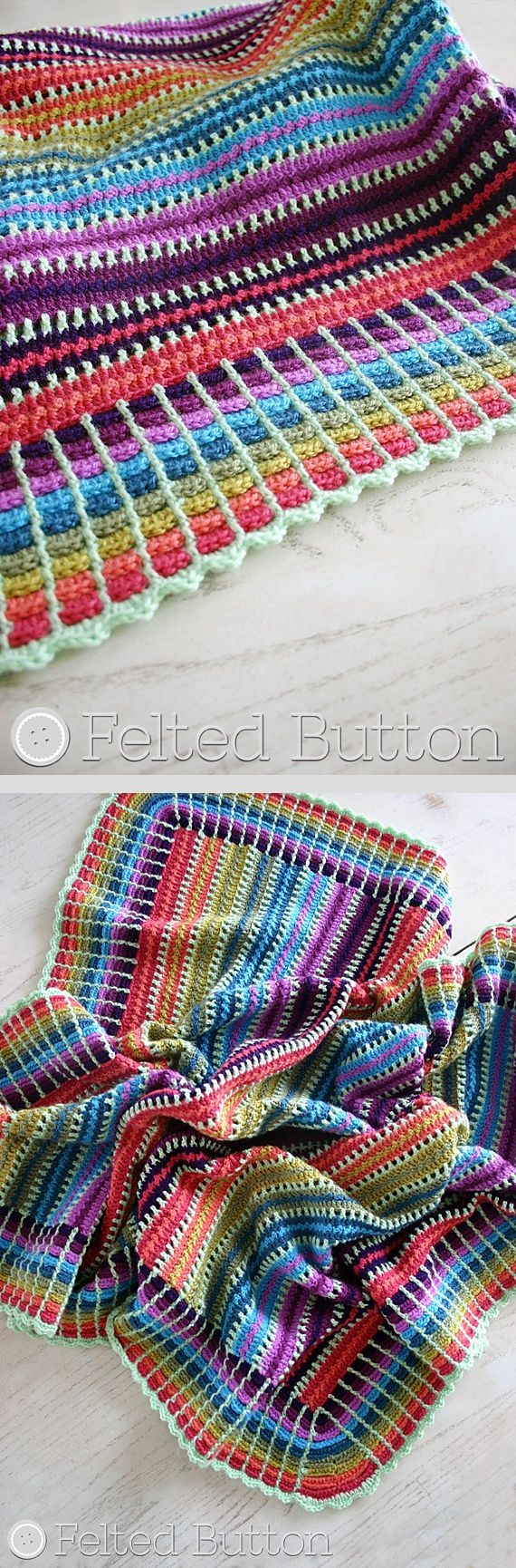 Skittles blanket, free pattern by Susan Carlson shown in photo using 10 colors…