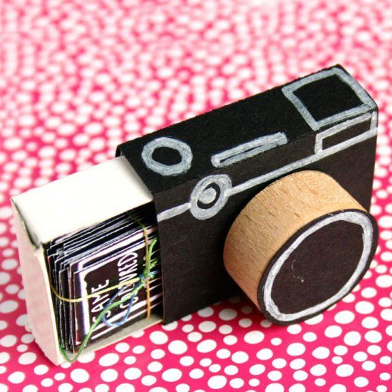 Turn a matchbox into a cute little camera and fill it with picture prompts. Perfect handmade gift for