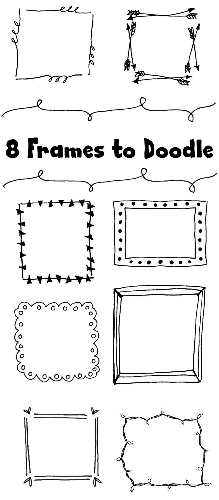 8 Fun Frames to Doodle or jazz up your hand-lettering! | One Arty Mama for DawnNic