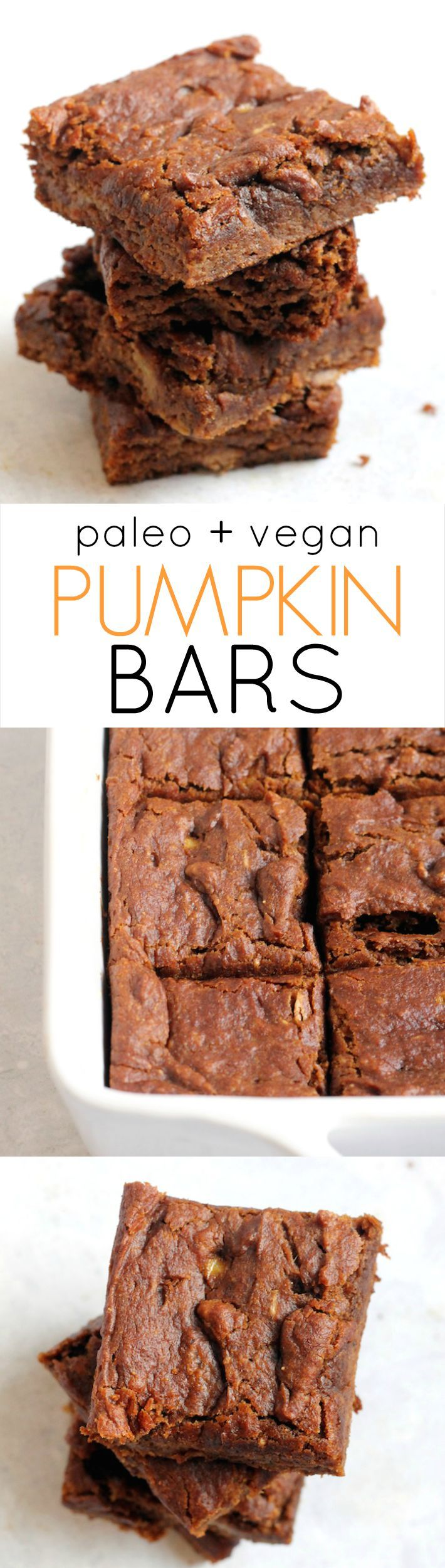 The Ultimate Pumpkin Bars—paleo, vegan, and free of oil, and refined sugar! These quick and easy bar