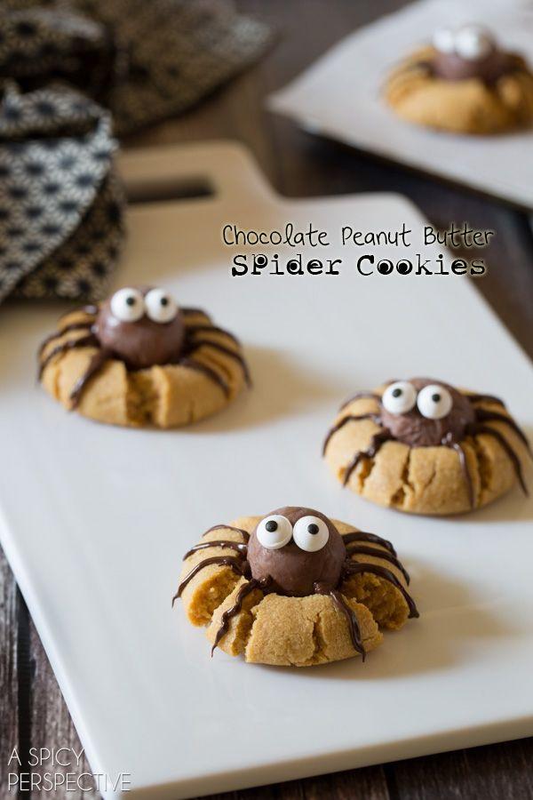 Chocolate Peanut Butter Cookies – SPIDERS! #halloween