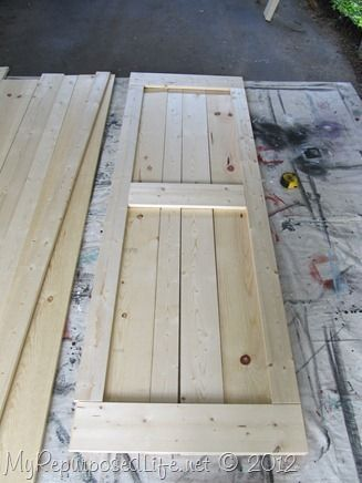 how to  make your own barn doors to hang with Tractor Supply Hardware MyRepurposed