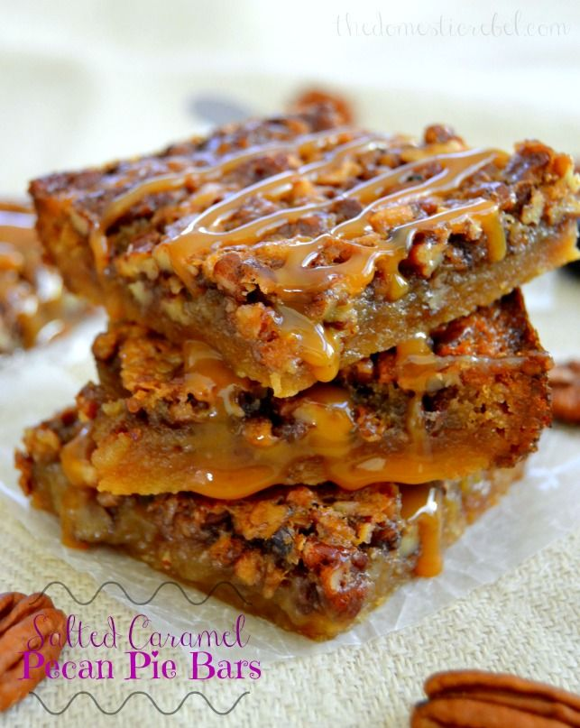 Chewy, gooey pecan pie bars filled with an irresistible brown sugar caramel fillin
