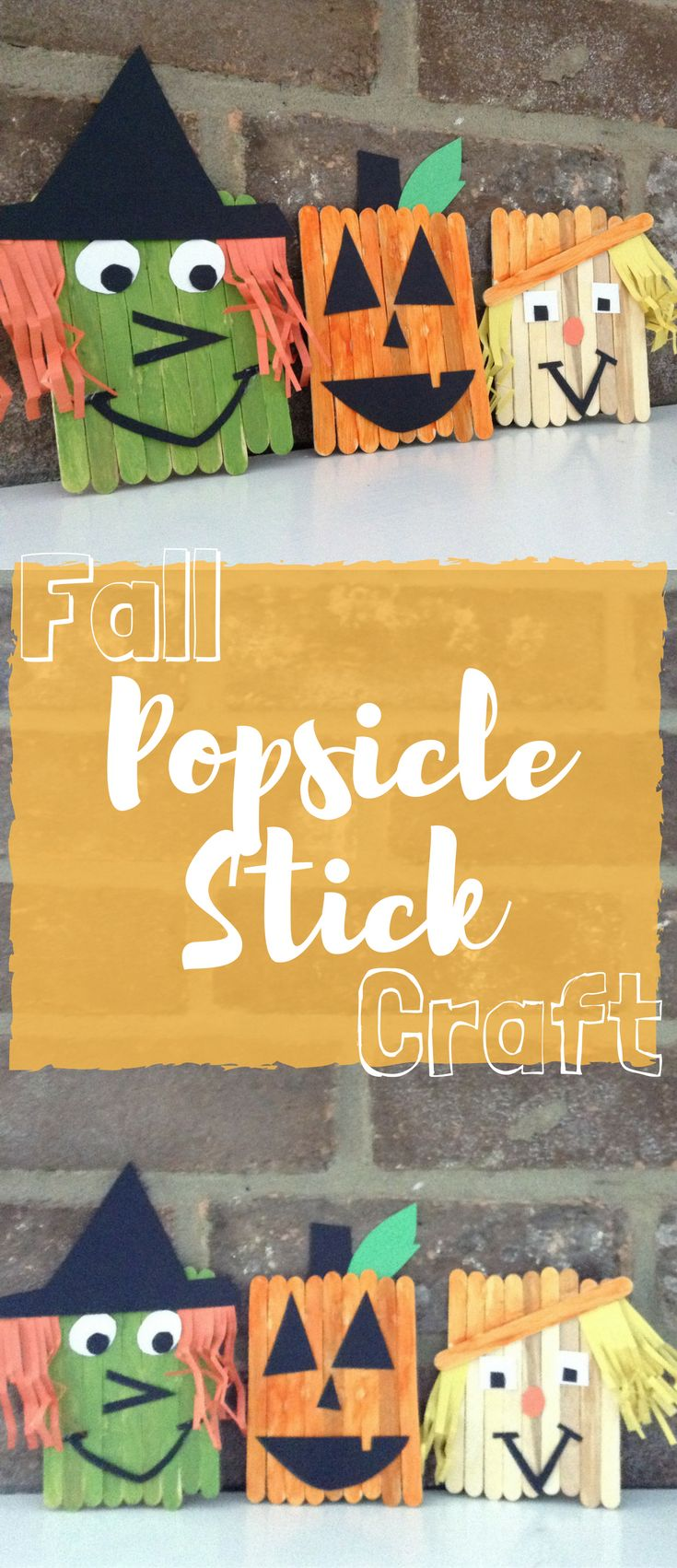 Fall Popsicle craft for kids. Pumpkin, Witch and Scarecrow.  There are so many var