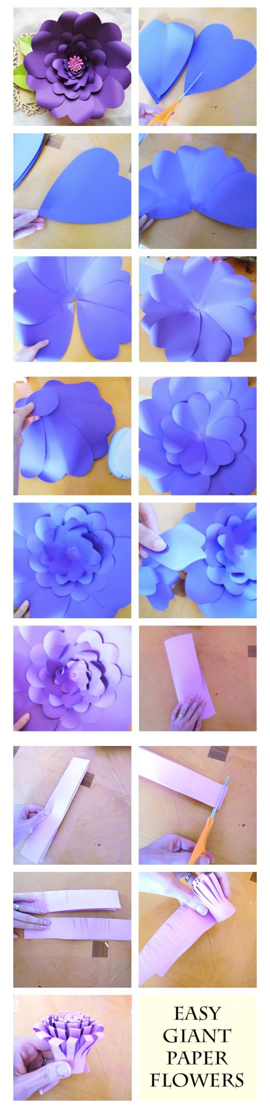 How to make giant paper flowers with templates.