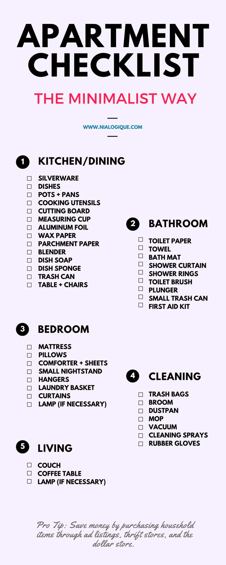 Minimalist Apartment Checklist | Check out this awesome, minimal infographic focus