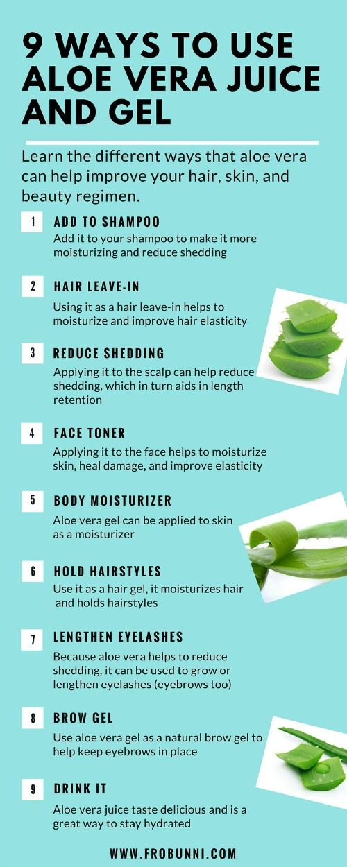 Aloe vera gel and juice has many benefits for hair and skin including growing long