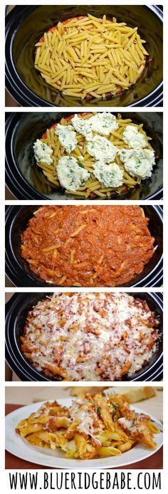 This Easy Crockpot Baked Ziti is the perfect dinner for fall! No cooking and minim