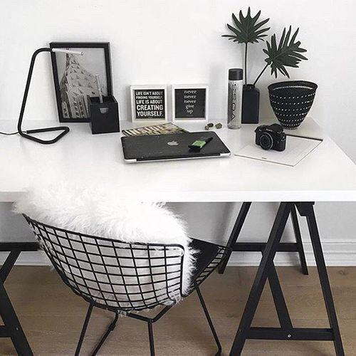white desk w/ black hairpin legs black wire chair w/ white pillow or throw add bla