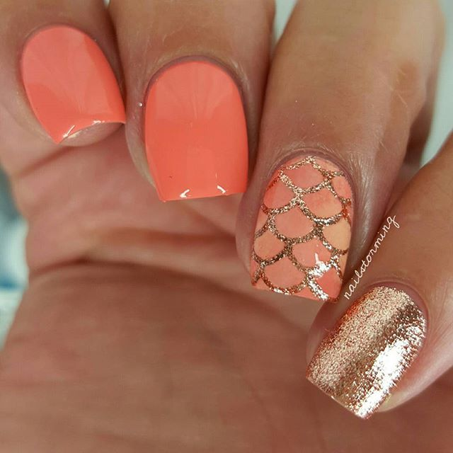 """WEBSTA @ nailstorming – Rosé Mermaid. –Products used:Rose gold: """"Halcyon&qu"""