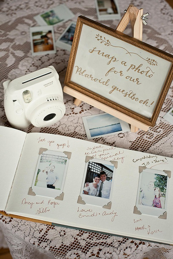 Guest book… guest take polaroid and put in book with a wish. Polaroid wedding gu