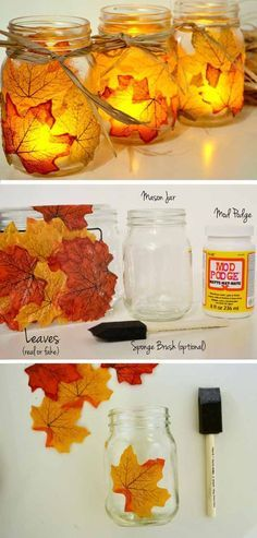 Fall Leaf Mason Jar Candle Holder | 17 DIY Thanksgiving Crafts for Adults, see mor