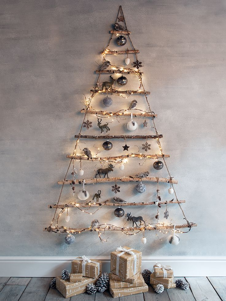 NEW Frosted Branches Hanging Tree – Christmas it would be cute to wrap pretty gree