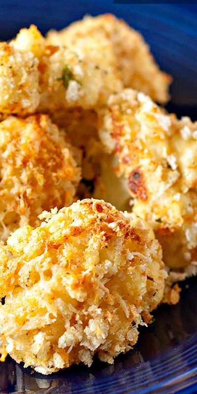 Baked Garlic Parmesan Cauliflower Bites – crunchy and crispy on the outside, moist