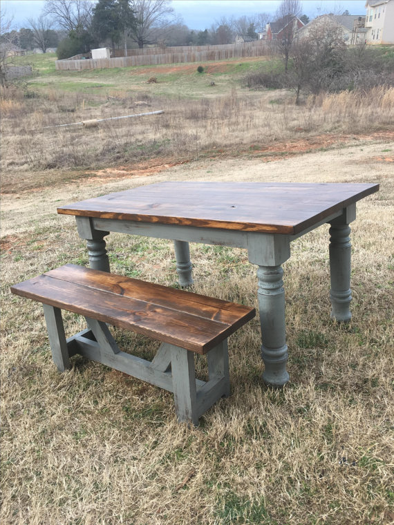 Farmhouse table with bench Ideas
