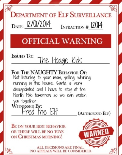 If your Elf on the Shelf visits during the holidays, this elf warning for naughty