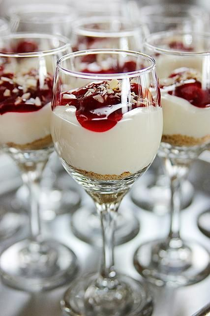 Cherry Cheesecake Shooters – great party dessert! www.foodnetwork.c…