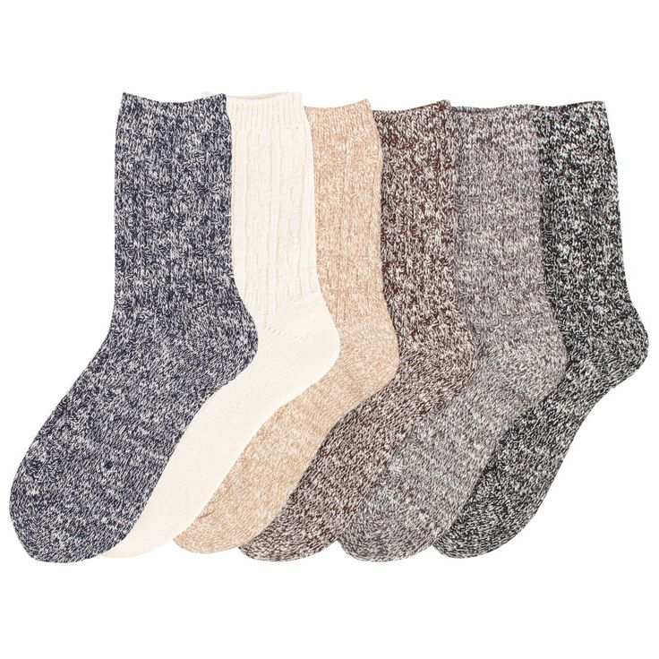 Womens 6 Pack Wool Color Fashion Warm Thick Thermal Crew Quarter Winter Socks