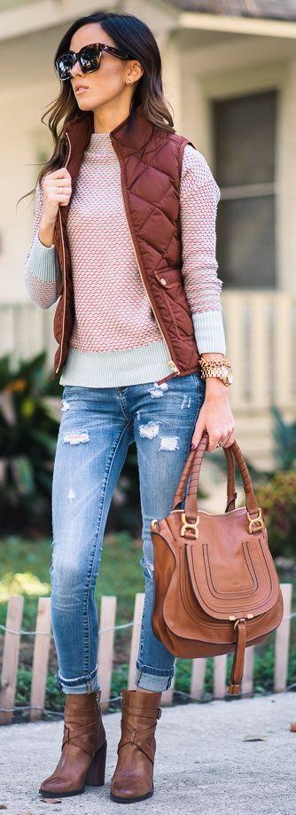 Blank Denim Distressed Denim Skinny Jeans | Caslon Funnel Neck Sweater | J.Crew Ex