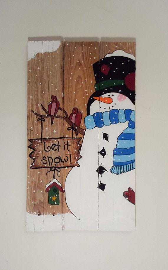 Let it Snow  Snowman Winter Pallet Sign