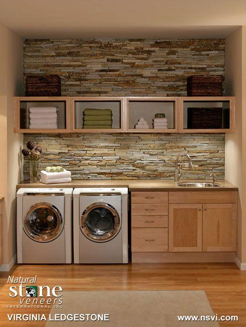 Organized laundry with brick backsplash….love the brick backsplash for a kitchen