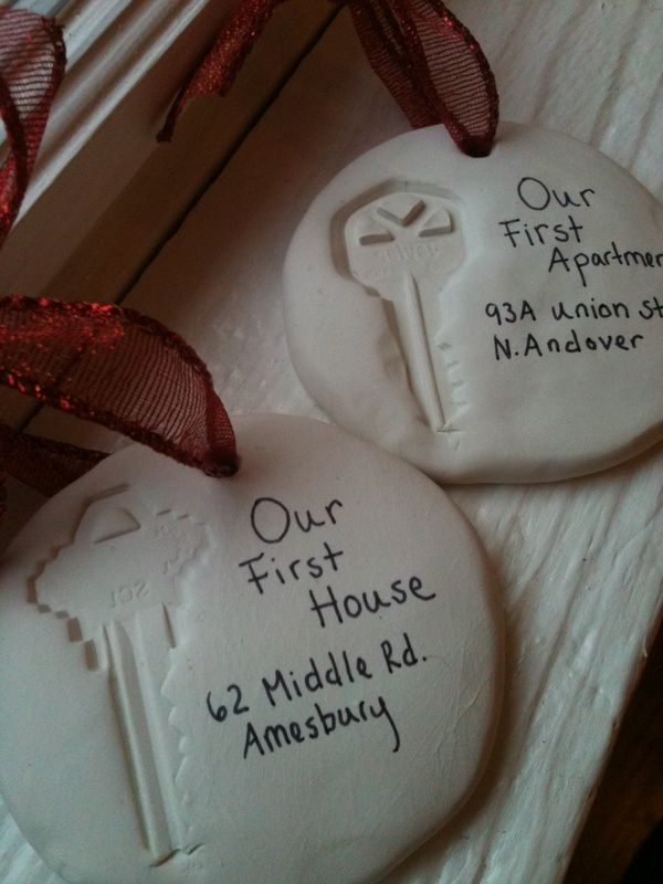 Handmade Christmas ornaments documenting all the places you have lived. This is so