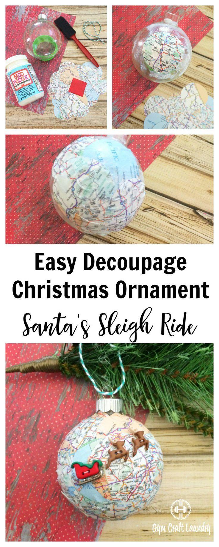 Easy Decoupage idea for Christmas. Make this adorable Santa Sleigh Decoupage Ornam