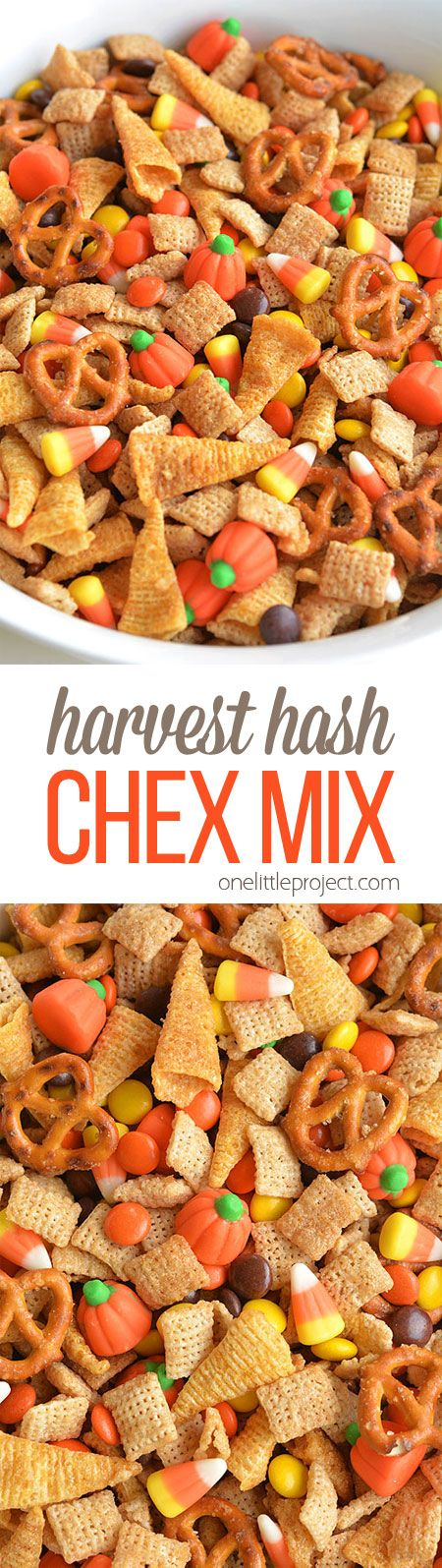 This Halloween harvest hash Chex mix is the PERFECT combination of sweet and salty