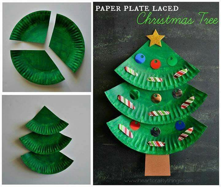 Christmas tree diy with paper plates. Fun crafts for the kids