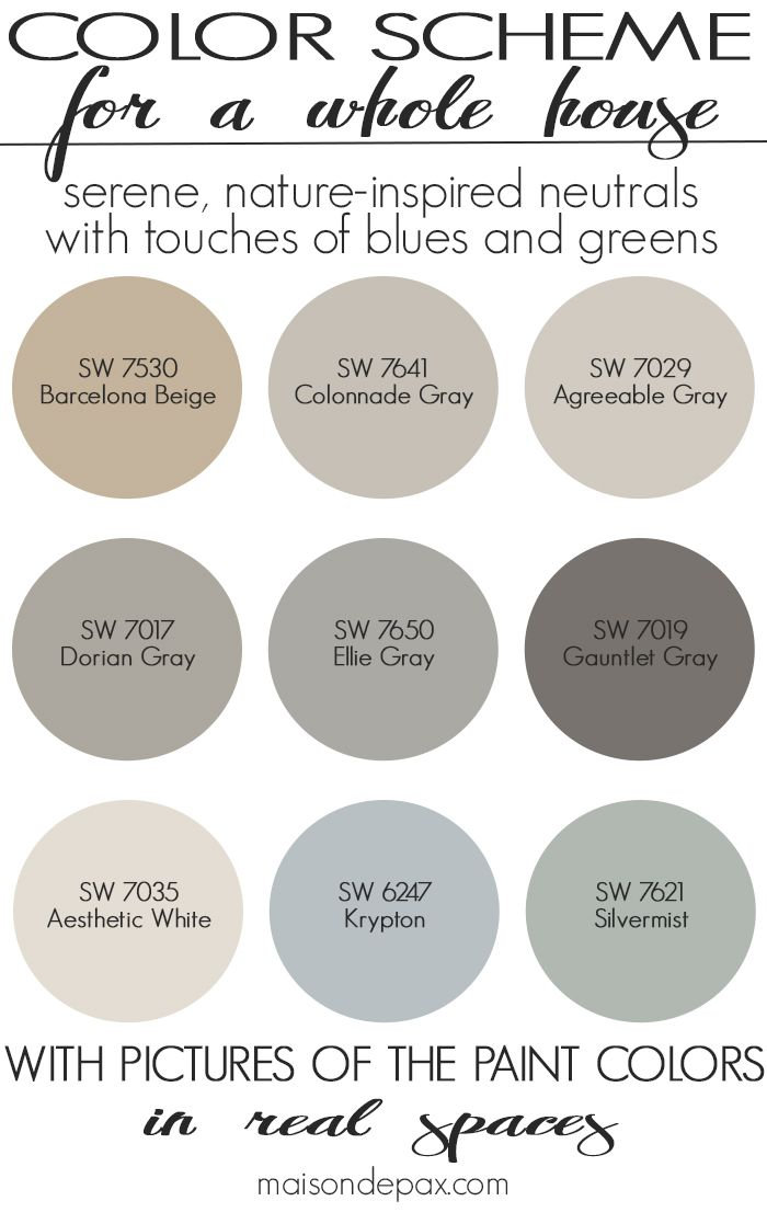 A color scheme for a whole house! See paint colors in real spaces in this home tou