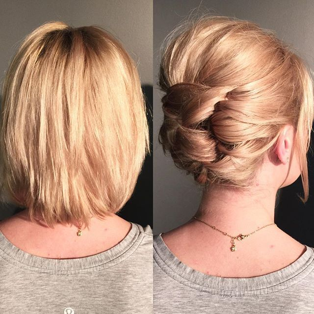 Short hair CAN go up. Here is an updo technique I demonstrated in Michigan to crea