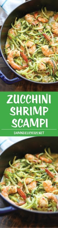 Zucchini Shrimp Scampi – Traditional shrimp scampi made into a low-carb dish with