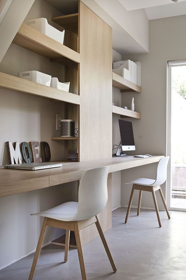 lovely minimalist double workspace design idea via sijmen interieur  … elevated